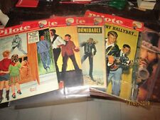 "Johnny Hallyday : lot des 5 magazines ""PILOTE"" avec Johnny en couverture."