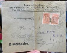 Interesting c1920s/30s/40s Austria to USA postal cover - Warblind of Austria