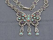schönes Collier Silber 925/- Türkis Amethyst Koralle Mexico Schmetterling