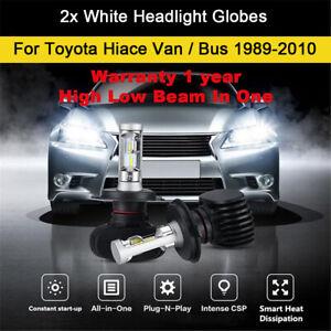 2x Headlight Globes For 1989-2010 Toyota Hiace Van Bus High Low Beam LED Bulbs A