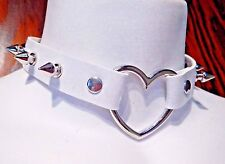 WHITE SPIKED HEART RING COLLAR silver rivet choker punk necklace vinyl PVC 3A