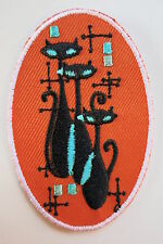 Atomic Cat Iron On Patch 50s Rockabilly PinUp Orange Teal Cats Oval Vintage