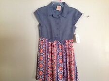 Denim Chambray & Peach Print Little Girls Dress SZ 4-5 NWT