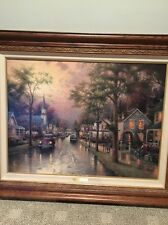 Thomas Kinkade Hometown Morning Studio Proof 25.5x34 Canvas. Art On Back. COA