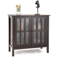Storage Buffet Cabinet Glass Door Sideboard Console Table Server Display Brown