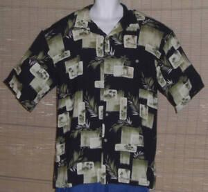 Hilo Hattie Hawaiian Shirt Black Green Tan Palm Trees Island Huts Size XL