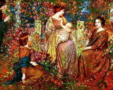 8x10 Pre-Raphaelite TOM MOSTYN Print Victorian Mother Child Rose Garden Musician