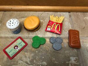 MCDONALD'S PLAY FOOD - FRENCH FRIES HAMBURGER PICKLES MCFLURRY CREDIT CARD LOT 7