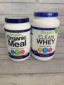 Orgain Grass Fed Clean Whey Protein Powder Chocolate + Organic Meal Chocolate