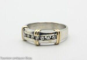 Quarter eternity 9ct white yellow gold ring 7 diamonds ring hallmarked size: R