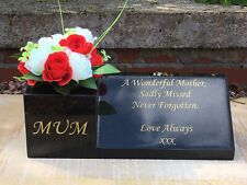 Personalised Granite Memorial Vase Wedge Grave Headstone Plaque Stone Flower