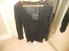 NWT Lauren Vidal France ~ Art to Wear ~ BlackCrinkle Mesh Pleat Paco Tunic ~ XL