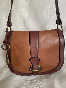 FOSSIL VINTAGE REISSUE Two Tone Brown Leather Flap Crossbody Messenger Bag