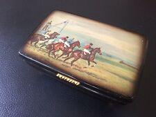 Vintage Old Wood Jewelry  Race Horses  Trinket  Box  Wooden
