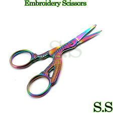 "Multi-Colour Rainbow Stork Embroidery Scissors - 3.5""/9cm - Sharp Point"