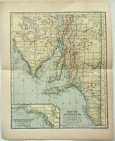 Original 1910 Map of South Australia by Dodd Mead & Company. Antique