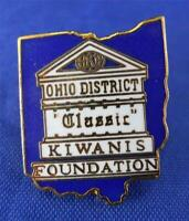 Ohio District Classic Kwanis Foundation State Shaped Lapel Pin Goldtone Vintage