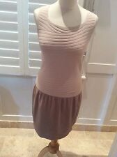 D. EXTERIOR BEIGE STRETCHY BODYCON DRESS & JACKET  MED UK8-12