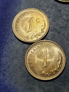 2 Coin Lot RHODESIA 1977 1 Cent Coins ***UNCIRCULATED***