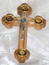 "11"" Large Olive Wood Capsules Handmade Crucifix Wall / Standing Catholic Cross"