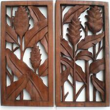 HELICONIA SET 2 GINGER FLOWER WOOD CARVED WALL ART HANGING CARVING BALI BALINESE