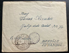 1948 Kayseri Turkey Army Post Office Stampless to Istanbul