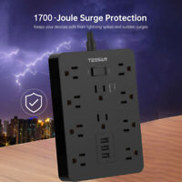 Heavy Duty Surge Protector Power Strip With 10 Outlets,5 ft Extension Cord,3 USB
