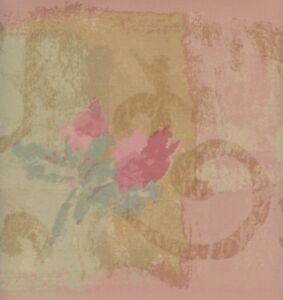 Wallpaper Border Watercolor Dark Pastel Pink Floral Scroll On Pink, Green, Tan