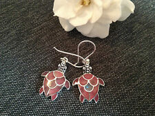 925 STERLING SILVER EARRINGS - PINK ON SHELL SEA TURTLE EARRINGS
