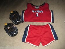 Build A Bear BABW Sports Red White & Blue Jersey Outfit & Shoes Bear Clothing