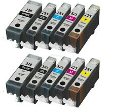 10 Pack PGI-220 CLI-221 Ink Cartridges for Canon PIXMA MP560 MP620 MP640 Printer