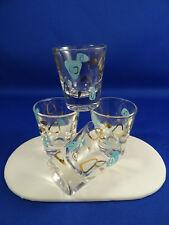4 Vintage Federal Glass Atomic Amoeba Boomerang Shot Glasses