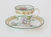 Antique Limoges Porcelain Jean Pouyat Hand Painted Floral Demitasse Cup & Saucer