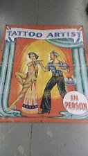Vintage Freakshow  Sideshow  Circus Fair Carnival    Tattoo Artist    Banner