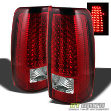 1999-2006 GMC Sierra 1500 2500 3500 Red Clear LED Tail Lights Lamps Left+Right
