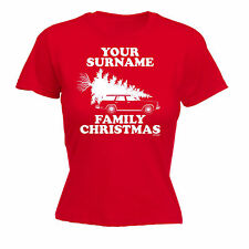 PERSONALISED SURNAME FAMILY CHRISTMAS WOMENS T-SHIRT x-mas griswold santa gift
