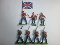 Konvolut 7 alte Elastolin Kunststoff Soldaten Engländer Fahnentraeger zu 7.5cm