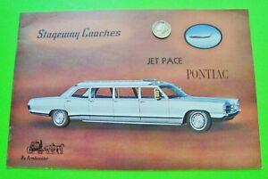rare 1966 PONTIAC AIRPORT LIMOUSINE COLOR CATALOG Brochure 12-pgs STRETCH LIMO