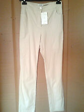 Adini 100% Cotton stretch Satin Twill trousers tapered leg high rise zip fly