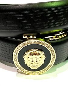 New Mens Pavini Adjustable Ratchet Belt Black Syn Leather Lion Buckle Rhinestone