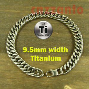 9.5mm Pure Titanium Anti allergy Double ring Bracelet Curb link Hand Chain Ti196