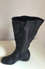 Women Emotion Black  Knee High Leather Boots Size 4