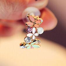 1Pair Fashion Retro Multi-color Rhinestone Flower Ear Stud Drop Dangle Earrings