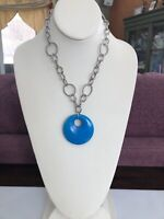 Vintage Blue Natural Stone Pendant Necklace With Silver tone Open Link chain