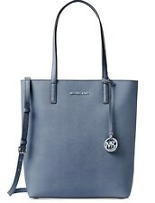 NWT Michael Kors Hayley Large Leather North South Top Zip Tote Denim MSRP$258