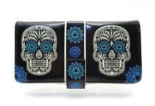 SHAGWEAR Wallet Cream/Blue Sugar Skull on Black Snap Tab Zipper Day of the Dead