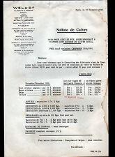 """PARIS (VIII°) PRODUITS CHIMIQUES / SULFATE DE CUIVRE """"WEL & Cie"""" TARIFS en 1933"""