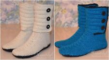 Women crochet boots, handmade house shoes, slipper boots, leather slippers