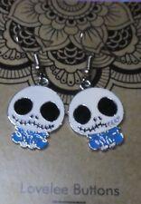 Cute Nightmare before Christmas Skull Jack Earrings Enamel Blue Cute