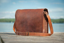 vintage leather handmade laptop carry style messenger satchel bag briefcase 16""